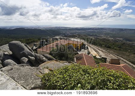 View from the chapel of the Peninha Sanctuary located in the Sintra Mountain range near Lisbon Portugal