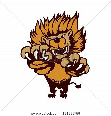 Fully editable illustration of a roaring cartoon Lion. Vector Illustration.