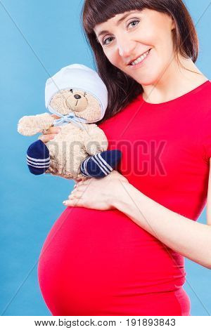 Smiling Woman In Pregnant Holding Fluffy Teddy Bear, Expecting For Newborn Concept