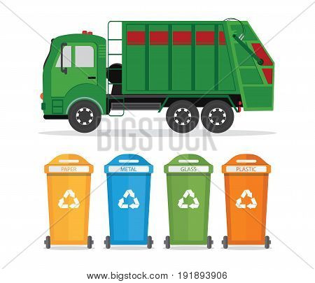 City waste recycling concept with garbage truck isolated on white background. Vector illustration in flat design.