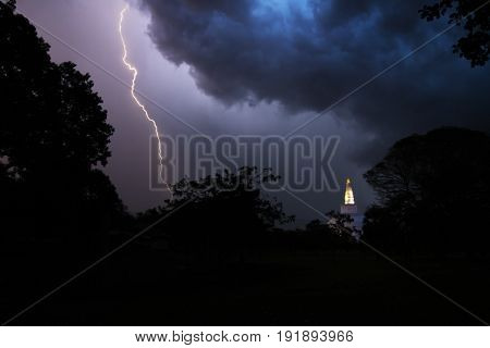 Lightening at night over Ruwanwelisaya, Anuradhapura, Sri Lanka