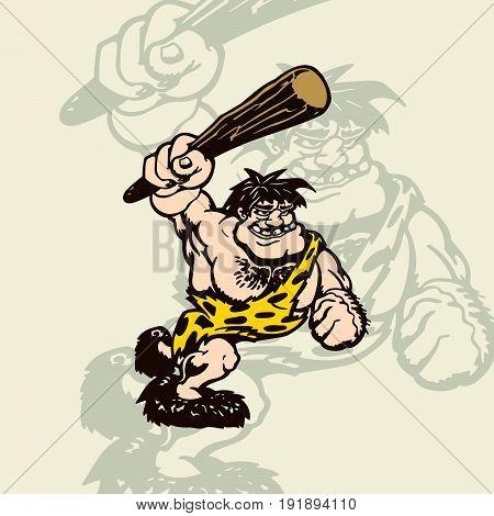 cartoon caveman in an animal skin. Vector Illustration. cartoon character