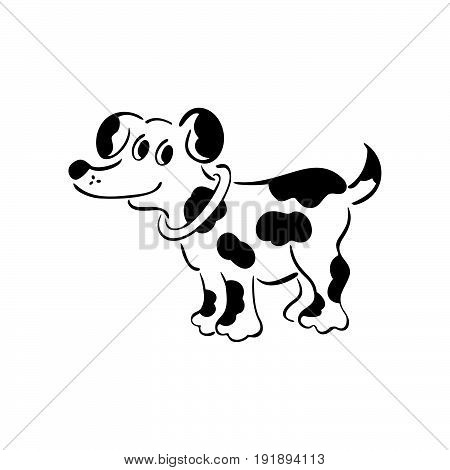 Vector black and white dog. Smart and darling doggy. Outlined cute dog. Vector Illustration.