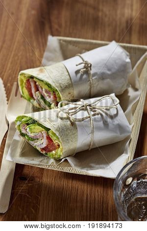 Spicy BLT bacon lettuce tomato wrap office lunch