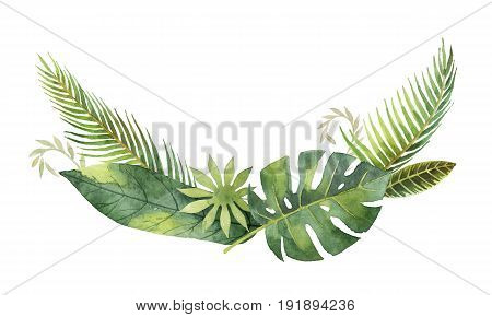 Watercolor wreath tropical leaves and branches isolated on white background. Illustration for design wedding invitations, greeting cards, postcards. Spring or summer flowers with space for your text.