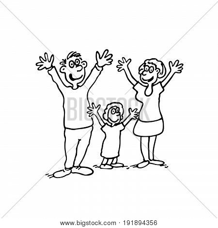 Vector doodle of happy family. outlined cartoon drawing sketch illustration vector.