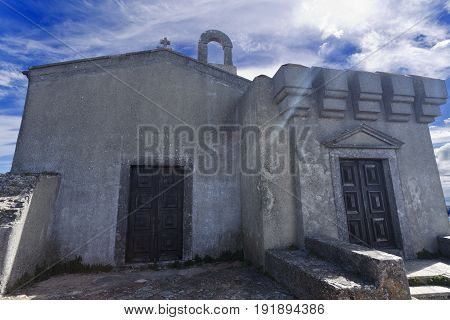 Facade of the Peninha Sanctuary chapel located in the Sintra Mountain range near Lisbon Portugal