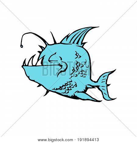 Psycho Fish Piranha. Animal cartoon character Vector Illustration.