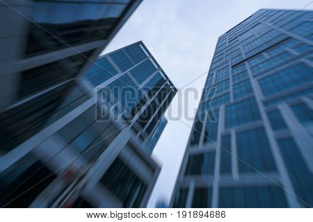 blurred low angle view of skyscrapersbusiness district in ShanghaiChina.