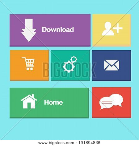 Icons colorful buttons on mobile application vector