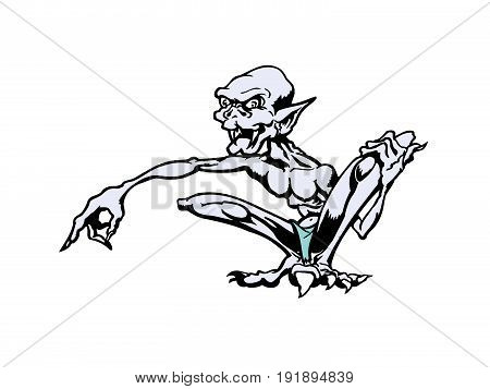 Skinny cartoon monsters . cartoon character Vector Illustration.