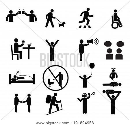 Human pictogram set vector.silhouette human activityGeneral people sign.human pictograms on white