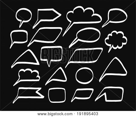 Message, frame, cloud, white lines, black background, vector. Frame painted in white marker on a black background. Simulation.