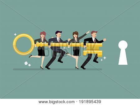 Business team holding golden key to unlock the lock. Business concept