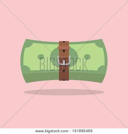 Money bills with a tight belt. Tight budget and recession shrinking economy concept