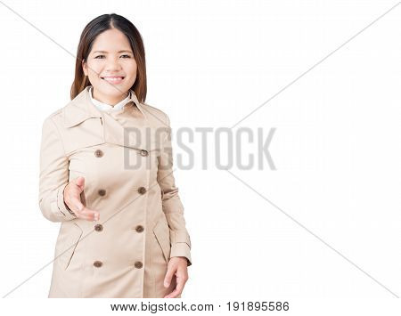 Asian Woman Extending Hand To Shake Isolated On White