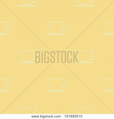 Simple seamless pattern. Vector background with tea cups. Can be used for wallpaper, surface texture, scrapbooking, fabric prints. For retail, travel agency, tour brochure, excursion banner.