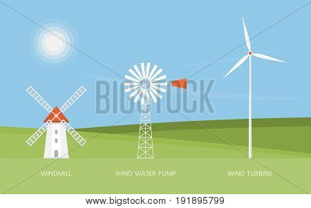 Windmill, water pump and wind turbine. Renewable energy sources. Ecology. Landscape. Vector illustration
