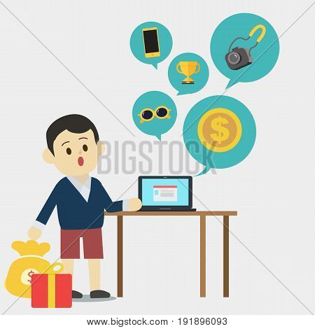Young man investing in online market vector.Man get reward from investing with laptop and reward icons.Man auction on laptop.
