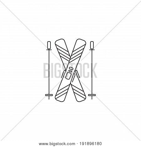 Ski equipment vector thin line icon. Black on white isolated symbol. Logo template, element for winter tours, travel agency products, brochures and banners. Simple mono linear modern design.