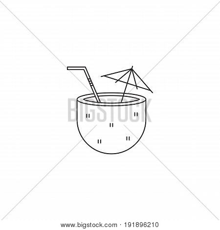 Coconut cocktail vector thin line icon. Isolated symbol. Logo template for beach party, element for travel agency products, tour brochure, excursion banner. Simple mono linear modern design.