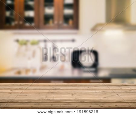 Wooden Counter Top With Kitchen Background