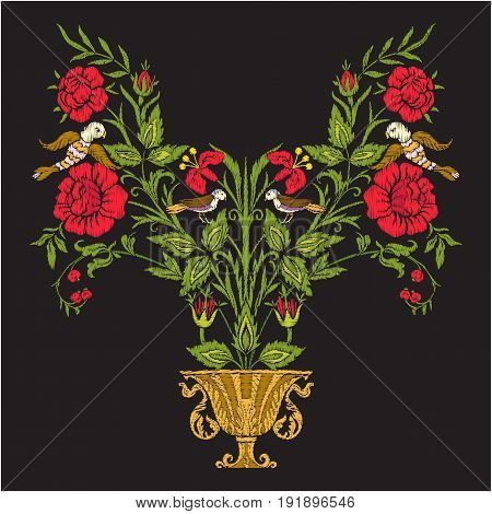 Embroidery vintage flowers bouquet or pattern in rococo, victorian, renaissance, baroque, royal style on black background. Stock line vector illustration.