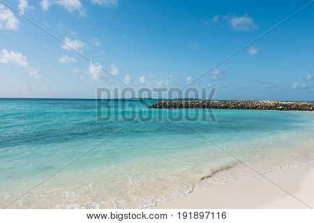 View Of Maafushi Island With Crystal Clear Water In The Beach, Maldives.