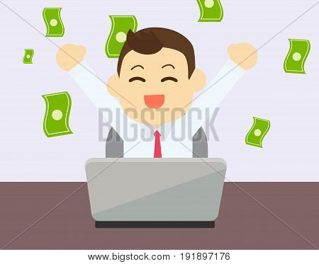 Businessman glad to earning money from online business with laptop on table.Vector and illustration