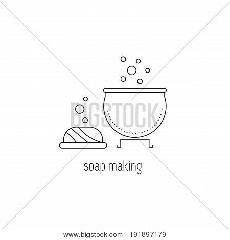 Soap making vector thin line icon. Bar of soap and a boiler. Colored isolated symbol. Logo template, element for business card or workshop announcement. Simple mono linear modern design.
