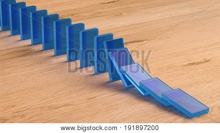 3d rendering blue dominoes falling on wooden background