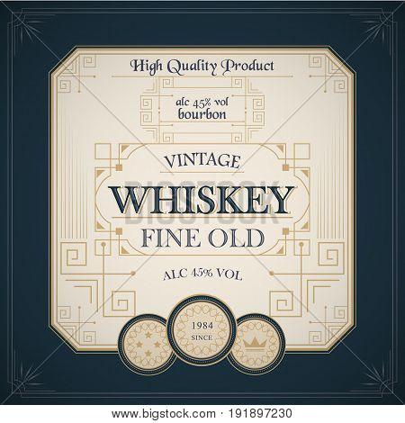 vintage western whiskey label old package design