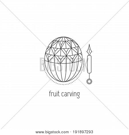 Fruit carving vector thin line icon. Decorated carved out watermelon. Isolated symbol. Logo template, element for business card or workshop announcement. Simple mono linear modern design.