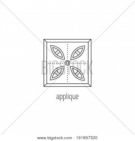Applique vector thin line icon. Handmade stitched patchwork piece. Black on white isolated symbol. Logo template, element for business card or workshop announcement. Simple mono linear modern design.