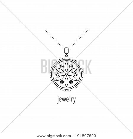 Jewelry vector thin line icon. Beautiful necklace with gemstones. Isolated symbol. Logo template, element for business card or workshop announcement. Simple mono linear modern design.