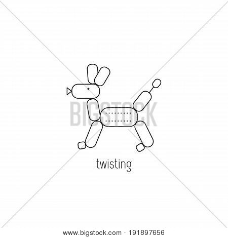Twisting vector thin line icon. Balloon, twisted in the form of dog. Isolated symbol. Logo template, element for business card or workshop announcement. Simple mono linear modern design.