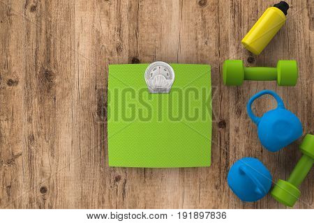 3d rendering weight scales with dumbbells and kettle bells