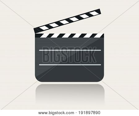 Modern movie clapper icon with reflection on ground vector