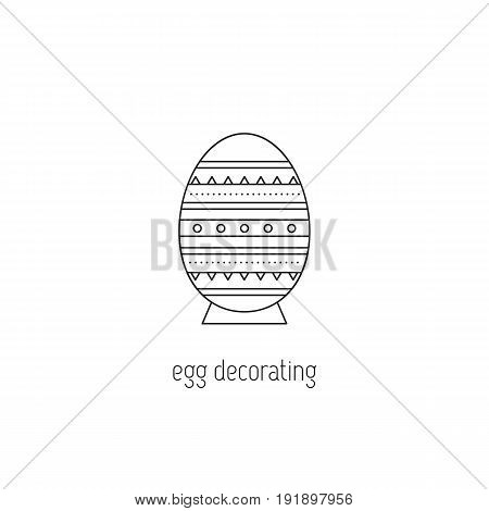 Egg decorating vector thin line icon. Painted Easter egg. Isolated symbol. Logo template, element for business card or workshop announcement. Simple mono linear modern design.