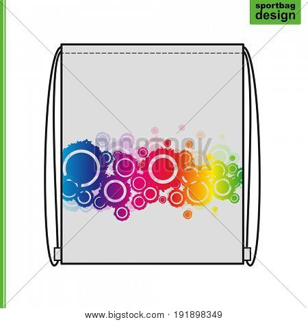 Template of a souvenir gift sports bag with an individual design: an abstract background of rainbow circles.
