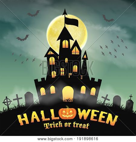 halloween silhouette castle in a night graveyard