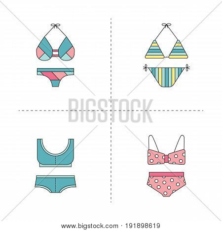 Swimming suit vector thin line icons set. Colored isolated symbols. Logo templates, elements for summer products, fashion, travel agency brochure, banner. Simple mono linear modern design.