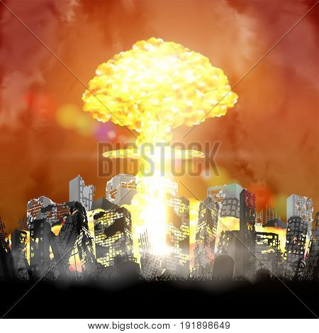 nuclear bomb exploding over ruined city building