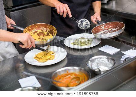Chefs Serving Ravioli Pasta