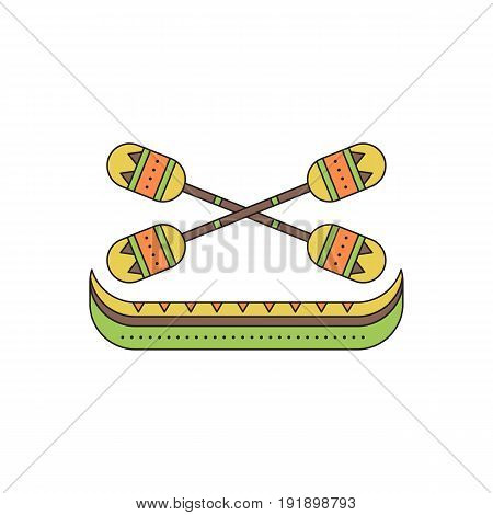 Tribal vector thin line icon, Pirogue with oars. Boho element, bohemian style. Logo template. Colored isolated illustration. Simple mono linear modern design.