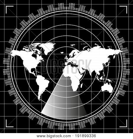 Abstract digital radar screen with world map, targets and futuristic user interface of white, gray and black shades