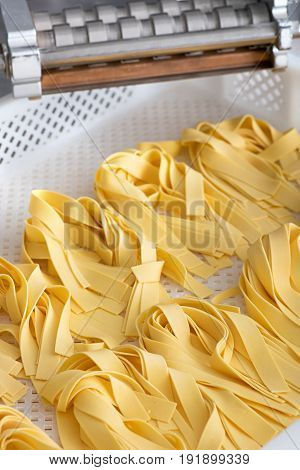 Freshly Made Ribbons Of Italian Tagliatelle Pasta