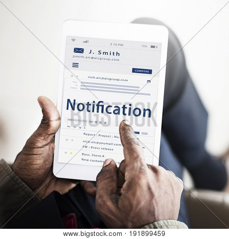 Graphic of Email notification in global communications network