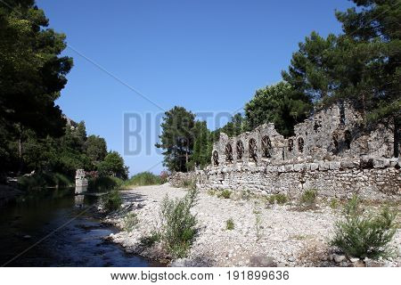 Olympos ancient city in Kumluca, Antalya, Turkey