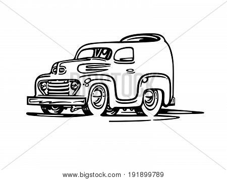 old van cartoon character . Vector Illustration design.